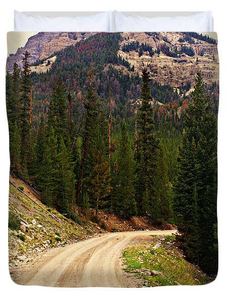 Dubois Mountain Road Duvet Cover by Marty Koch