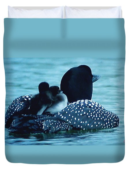 Duck Family Joy In The Lake  Duvet Cover