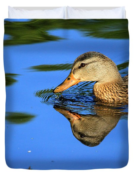 Duck Reflects Duvet Cover by Karol Livote