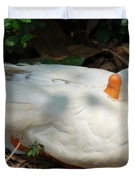 Duvet Cover featuring the photograph Duck Resting by Fotosas Photography