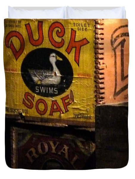 Duvet Cover featuring the photograph Duck Soap by Newel Hunter