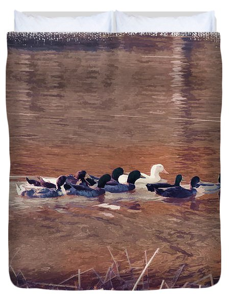 Ducks On Canvas Duvet Cover by Douglas Barnard