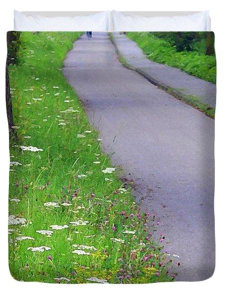 Dutch Bicycle Path - Digital Painting Duvet Cover by Carol Groenen