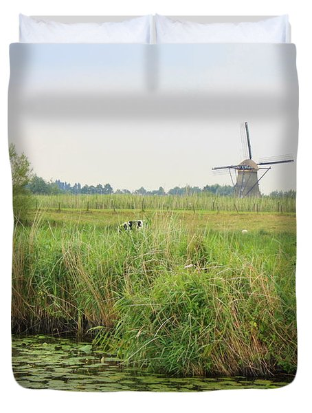Dutch Landscape With Windmills And Cows Duvet Cover by Carol Groenen