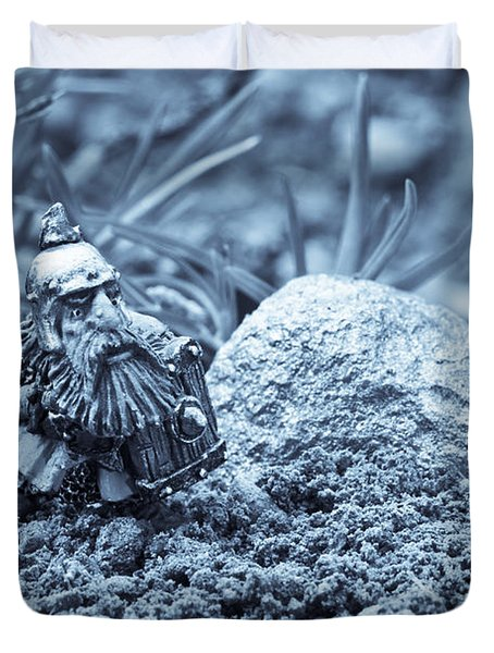 Dwarf Lost In The Enchanted Forest Duvet Cover by Marc Garrido