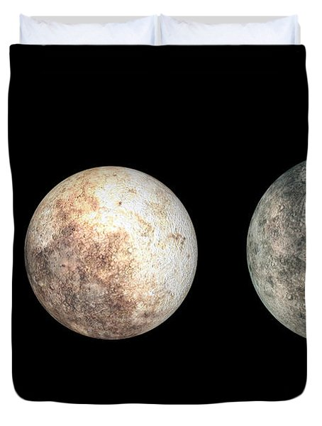 Dwarf Planets Ceres, Pluto, And Eris Duvet Cover by Walter Myers