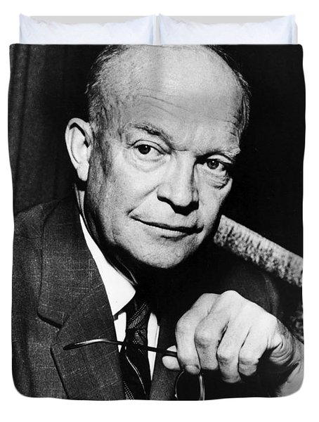 Duvet Cover featuring the photograph Dwight D Eisenhower - President Of The United States Of America by International  Images
