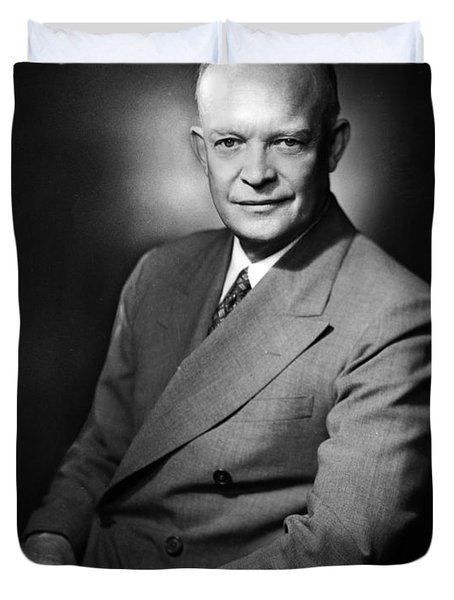 Duvet Cover featuring the photograph Dwight Eisenhower - President Of The United States Of America by International  Images