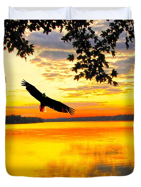 Duvet Cover featuring the photograph Eagle At Sunset by Randall Branham