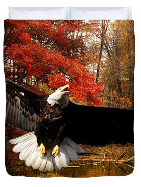 Duvet Cover featuring the photograph Eagle In Autumn Splendor by Randall Branham