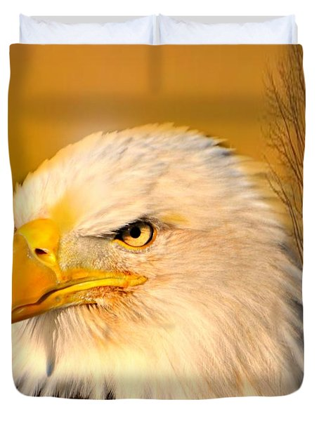 Eagle On Guard Duvet Cover by Marty Koch