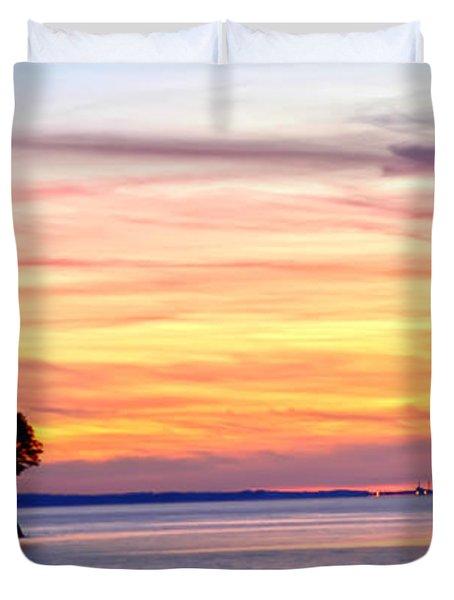 Duvet Cover featuring the photograph Eagle Sunrise by Randall Branham