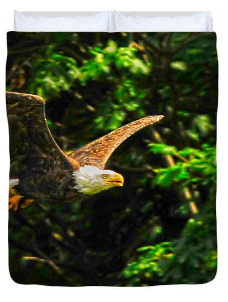 Duvet Cover featuring the photograph Eagle Taking Lunch To Her Babies by Randall Branham