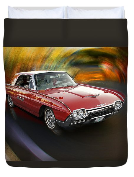 Early 60s Red Thunderbird Duvet Cover by Mick Anderson