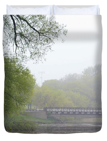 Duvet Cover featuring the photograph Early Spring Morning Fog by Kay Novy