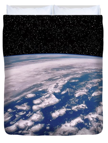 Earth With Starfield Duvet Cover by NASA / Science Source