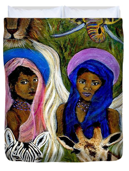 Earthangels Abeni And Adesina From Africa Duvet Cover by The Art With A Heart By Charlotte Phillips