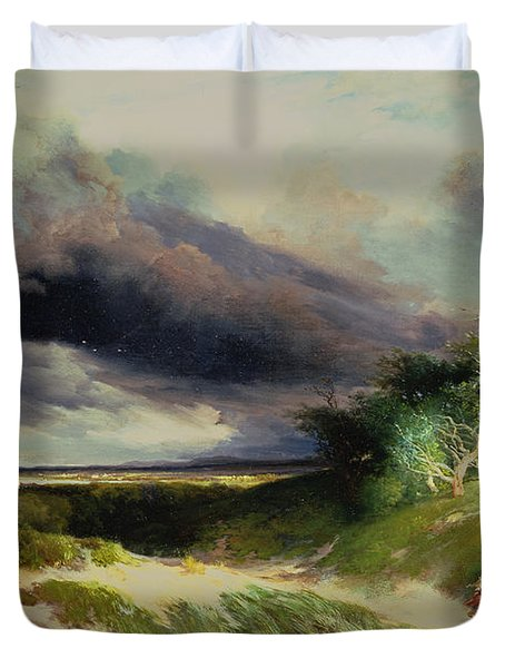 East Hamptonlong Island Sand Dunes Duvet Cover by Thomas Moran