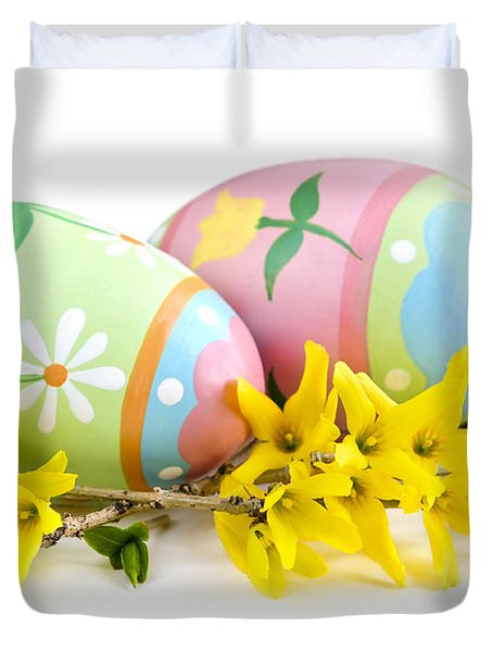 Easter Eggs Duvet Cover by Elena Elisseeva