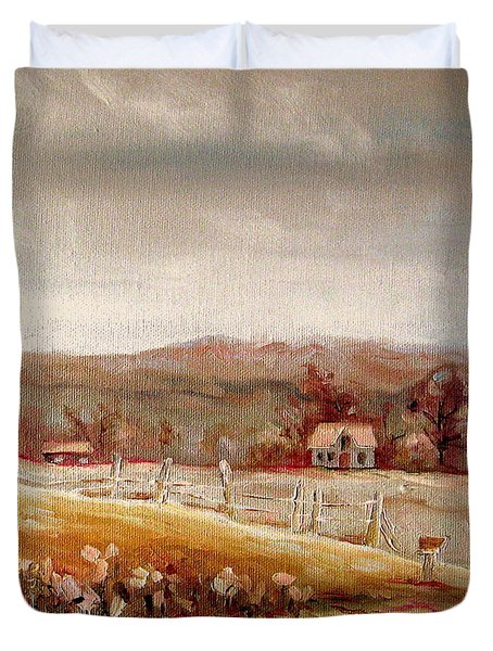 Eastern Townships Quebec Painting Duvet Cover by Carole Spandau