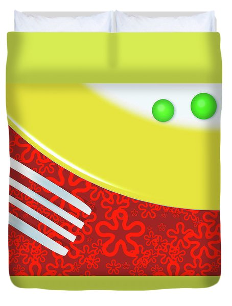 Eat Your Peas Duvet Cover by Richard Rizzo