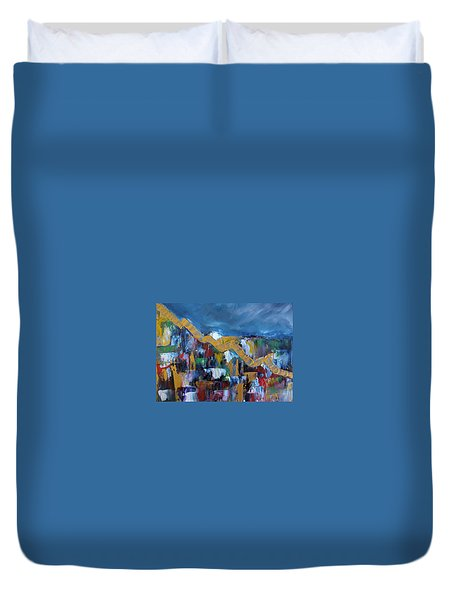 Duvet Cover featuring the painting Economic Meltdown by Judith Rhue