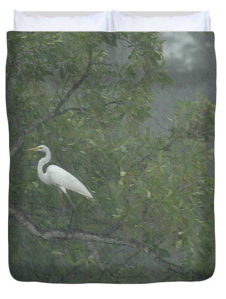Egret In The Monsoons Duvet Cover by Bob Christopher