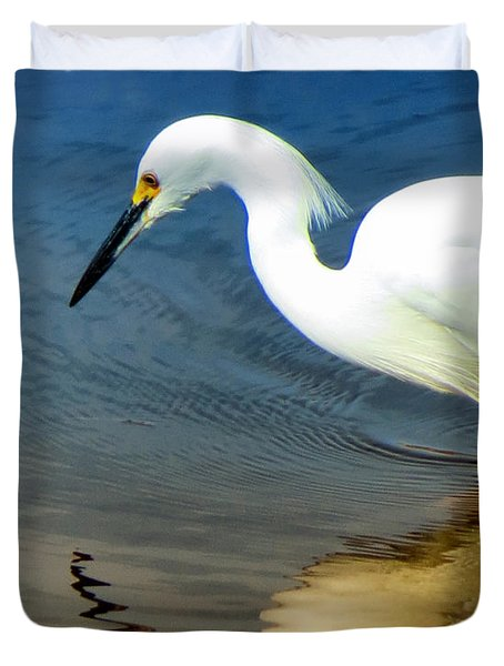 Egret Reflected Duvet Cover by Diane Wood