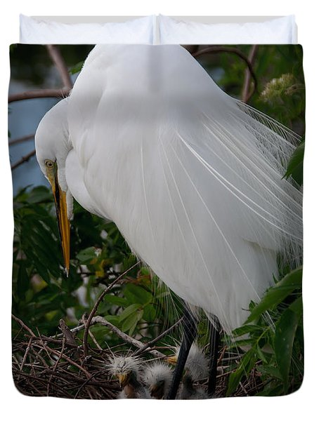 Egret With Chicks Duvet Cover