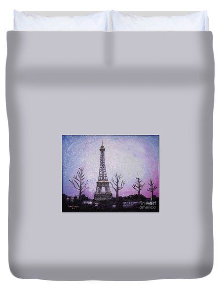 Eiffel At Night Duvet Cover