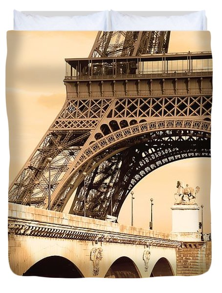 Eiffel Tower, Paris, France Duvet Cover by Carson Ganci
