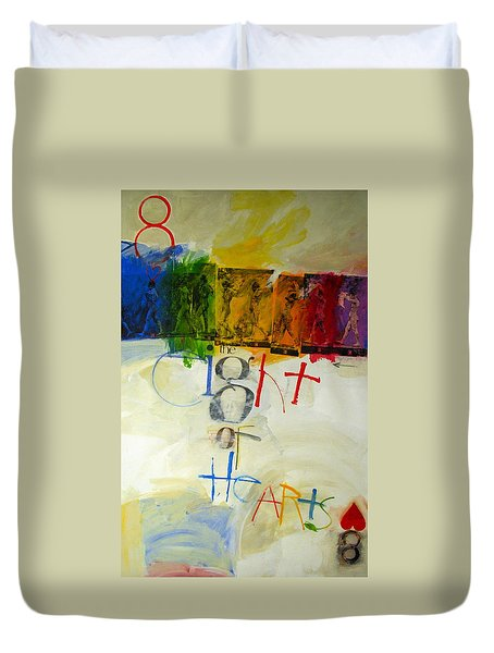 Duvet Cover featuring the painting Eight Of Hearts 34-52 by Cliff Spohn