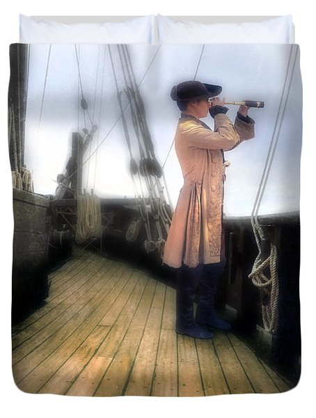 Eighteenth Century Man With Spyglass On Ship Duvet Cover by Jill Battaglia