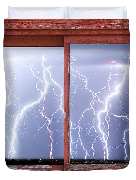 Electric Skies Red Barn Picture Window Frame Photo Art  Duvet Cover by James BO  Insogna