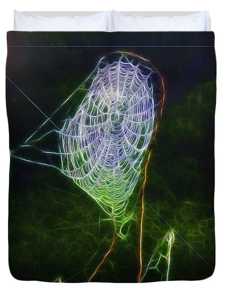 Electric Web In The Fog Duvet Cover by EricaMaxine  Price