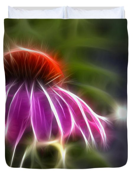 Duvet Cover featuring the photograph Electrified Coneflower by Lynne Jenkins