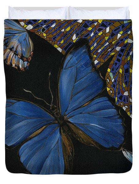 Duvet Cover featuring the painting Elena Yakubovich - Butterfly 2x2 Lower Left Corner by Elena Yakubovich