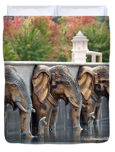 Elephants Of The Mandir Duvet Cover
