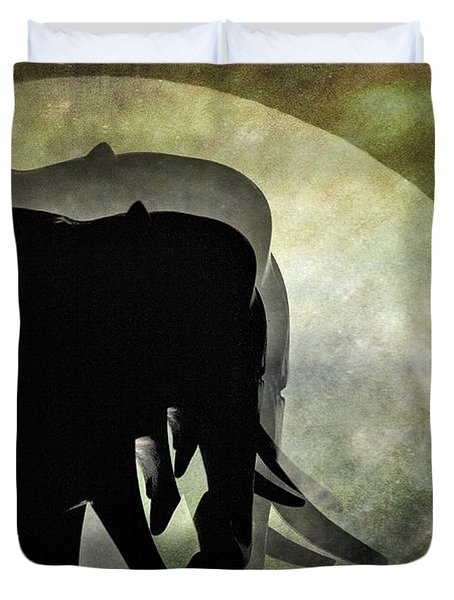 Elephants On Moonlight Walk 2 Duvet Cover by Kaye Menner