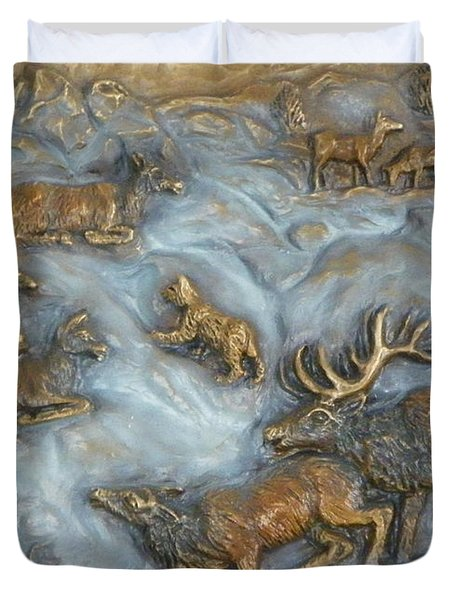 Elk And Bobcat In Winter Duvet Cover by Dawn Senior-Trask