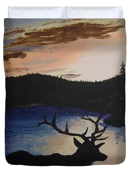Duvet Cover featuring the painting Elk At Sunset by Norm Starks