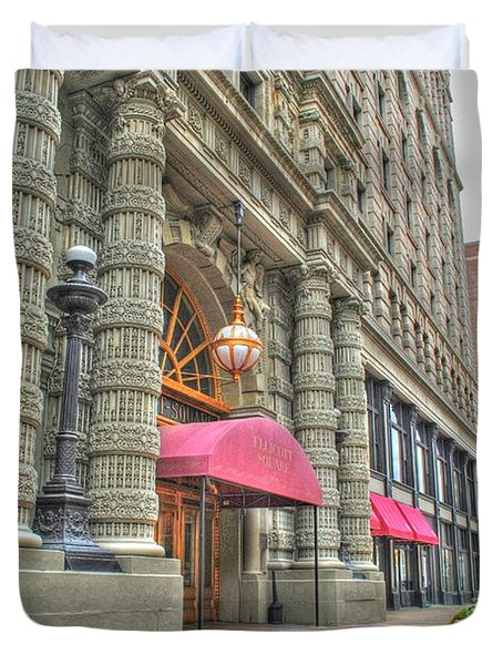 Duvet Cover featuring the photograph Ellicott Square Building And Hsbc by Michael Frank Jr