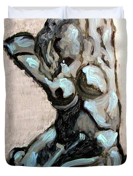 Emerald Green And Blue Expressionist Nude Female Figure Painting Filled With Emotion And Movement Duvet Cover