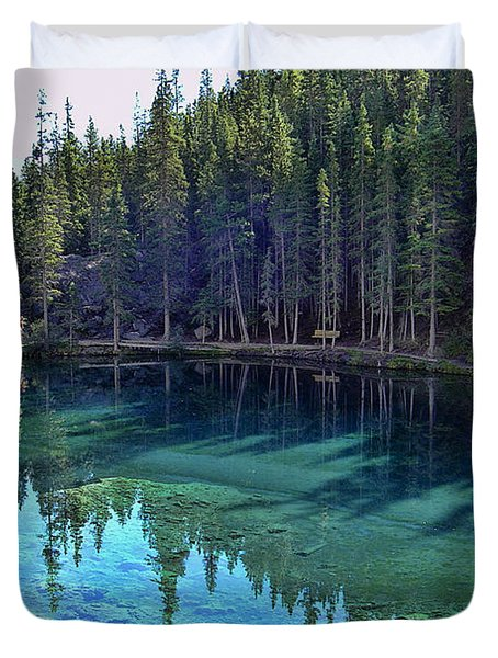 Emerald Mountain Pond Duvet Cover by Jo-Anne Gazo-McKim