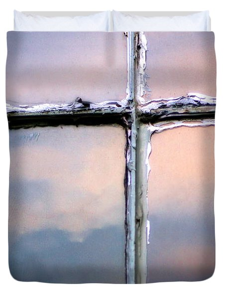 Empty Cross On The Window Of An Old Church Duvet Cover