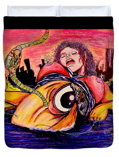 Duvet Cover featuring the painting En El Bano De Soledad by eVol  i