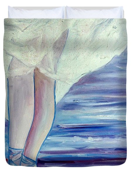 Duvet Cover featuring the painting En Pointe by Julie Brugh Riffey