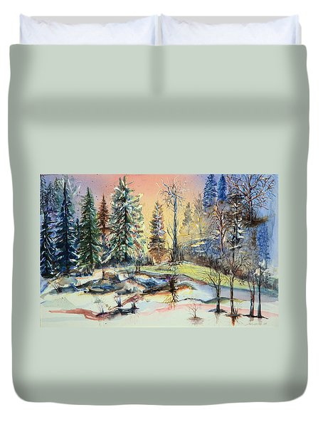 Enchanted Forest At Sunset Duvet Cover by Bernadette Krupa