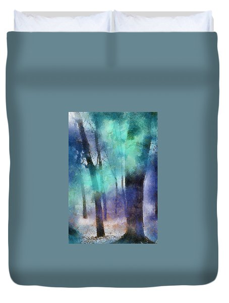 Enchanted Forest. Painting With Light Duvet Cover by Jenny Rainbow