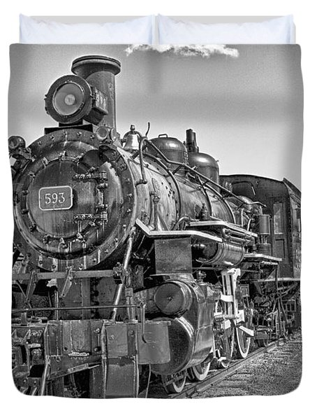 Duvet Cover featuring the photograph Engine 593 by Eunice Gibb